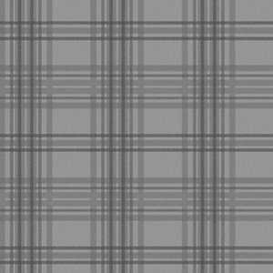 Superfresco Easy Charcoal Country Tartan Wallpaper - 10m