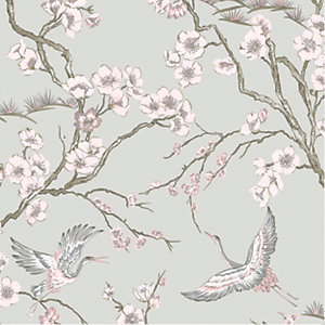 Sublime Japan Pink & Grey Floral Wallpaper - 10m