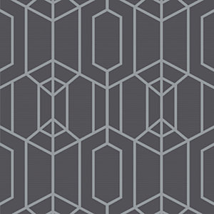 Superfresco Easy Albany Black Geometric Wallpaper - 10m