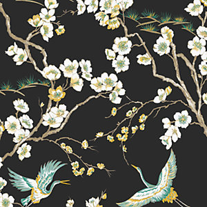 Sublime Japan Wallpaper Black - 10m