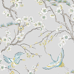 Sublime Japan Blue & Grey Floral Wallpaper - 10m