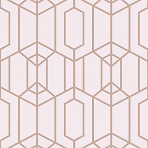Superfresco Easy Albany Pink Geometric Wallpaper - 10m