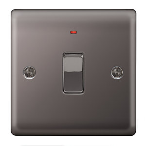 Wickes 20A Double Pole Switch + LED 1 Gang Black Nickel Raised Plate