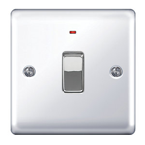 Wickes 20A Double Pole Switch + LED 1 Gang Polished Chrome Raised Plate