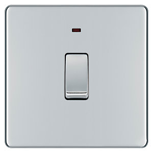 Wickes 20A Double Pole Switch + LED 1 Gang Polished Chrome Screwless Flat Plate