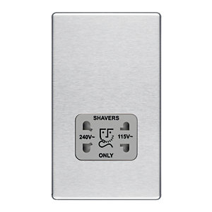 Wickes Screwless Flat Plate Dual Voltage Shaver Socket Brushed Steel
