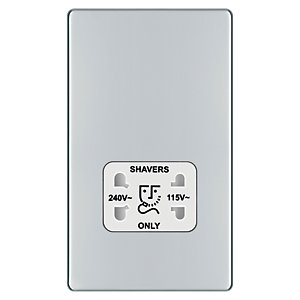 Wickes Screwless Flat Plate Dual Voltage Shaver Socket Polished Chrome
