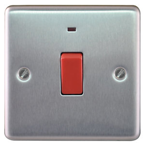 Wickes 45A 1 Gang Cooker Switch Brushed Steel Raised Plate