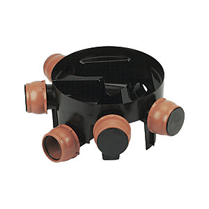 FloPlast 450mm Chamber Base with 5 Flexible Inlets - Black