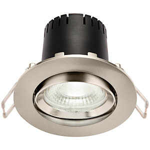Saxby Integrated LED Adjustable Cool White Dimmable Downlight 5.5W - Brushed Nickel