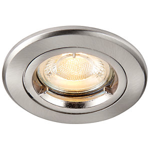 Saxby GU10 Fire Rated Cast Fixed Downlight - Brushed Nickel