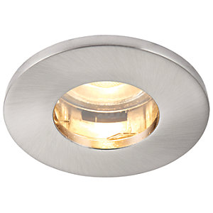 Saxby GU10 IP65 Cast Fixed Downlight - Brushed Nickel