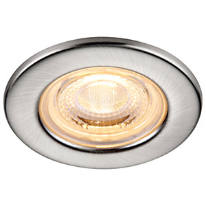 Saxby Integrated LED Fire Rated IP65 Warm White Dimmable Downlight 4W - Brushed Nickel