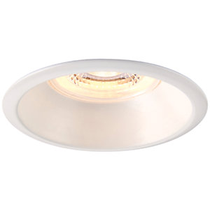 Saxby Integrated LED Fire Rated Anti-Glare IP65 Fixed Warm White Dimmable Downlight 4W - Matt White