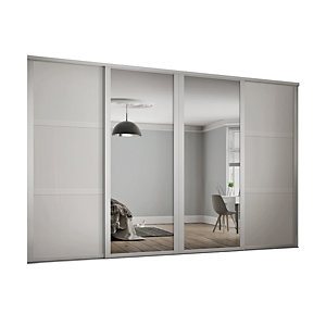 Spacepro 610mm White Shaker frame 3 panel & 2x Single panel Mirror Sliding Wardrobe Door Kit