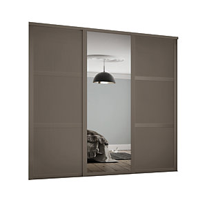 Spacepro 610mm Stone Grey Shaker frame 3 panel & 1x Single panel Mirror Sliding Wardrobe Door Kit