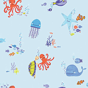 Arthouse Underwater Fun Blue Wallpaper 10.05m x 53cm