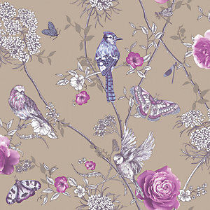 Arthouse Paradise Garden Mink Wallpaper 10.05m x 53cm
