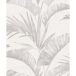 Arthouse Banana Palm Chalk Grey Wallpaper 10.05m x 53cm