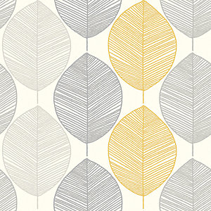 Arthouse Scandi Yellow Leaf Wallpaper 10.05m x 53cm