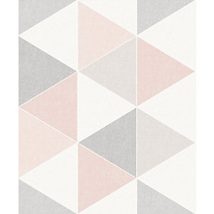 Arthouse Retro Triangle Pink Wallpaper 10.05m x 53cm