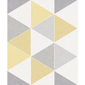 Arthouse Retro Triangle Yellow Wallpaper 10.05m x 53cm