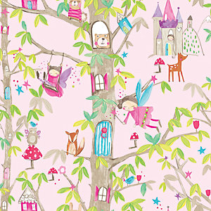 Arthouse Woodland Fairies Pink Wallpaper 10.05m x 53cm