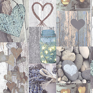 Arthouse Rustic Heart Natural Wallpaper 10.05m x 53cm