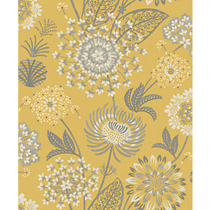 Arthouse Vintage Bloom Mustard Yellow Wallpaper 10.05m x 53cm