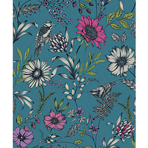 Arthouse Botanical Songbird Teal Wallpaper 10.05m x 53cm