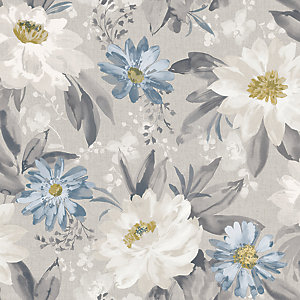 Arthouse Painted Dahlia Grey Multi Wallpaper 10.05m x 53cm