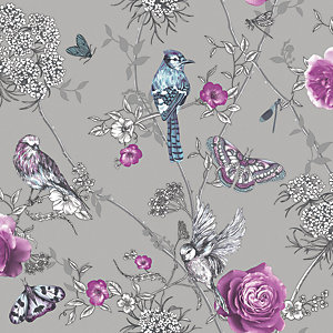 Arthouse Paradise Garden Silver Wallpaper 10.05m x 53cm