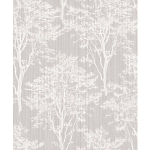 Arthouse Diamond Wood Silver Wallpaper 10.05m x 53cm