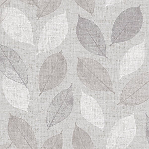 Arthouse Linen Leaf Grey Wallpaper 10.05m x 53cm
