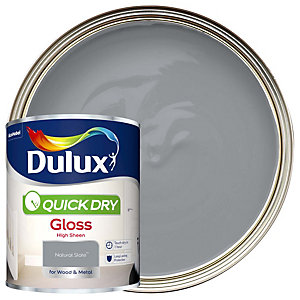 Dulux Quick Dry Gloss Natural Slate Paint 750ml