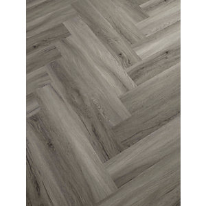 Novocore Herringbone Warm Grey LVT Flooring With Built In Underlay- 1.51m2 Pack