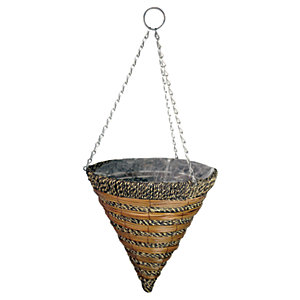 14in Sisai Rope & Fern Hanging Cone