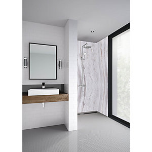 Mermaid Elite Marmo Linea Tongue & Groove Single Shower Panel