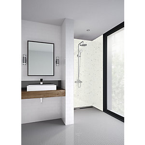 Mermaid Elite Quartzo Bianco Tongue & Groove Single Shower Panel