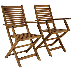 Charles Bentley FSC Acacia 1 x Pair Of Wooden Foldable Arm Chairs