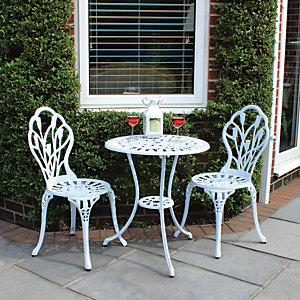 Charles Bentley Cast Aluminium Tulip Bistro Set In White