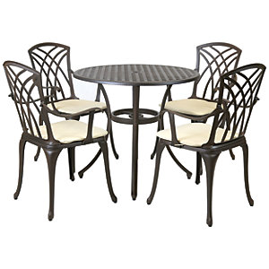 Charles Bentley 4 Seater Round Cast Aluminium Dining Set - Black With Bronze Finish