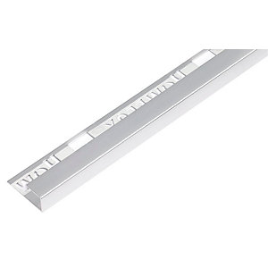 Homelux 12mm Metal Square Silver Tile Trim 2.44m