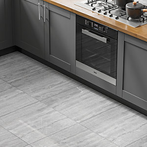 Wickes Olympia Light Grey Polished Stone Porcelain Wall & Floor Tile 600 x 600mm
