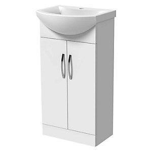 Wickes White Gloss Vanity Unit & Basin - 450 X 250mm