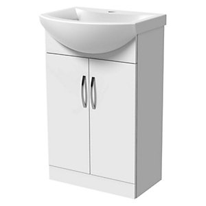 Wickes White Gloss Vanity Unit & Basin - 550 X 300mm