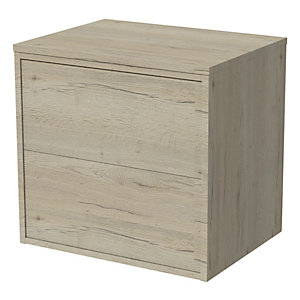 Wickes Tallinn Halifax Oak 'push To Open' Vanity Unit - 600mm
