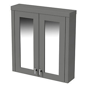 Wickes Hayman Dove Grey Traditional Mirror Cabinet - 700 x 600mm