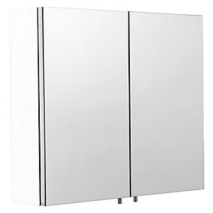 Croydex Folded White Steel Double Door Bathroom Cabinet - 670 x 600mm