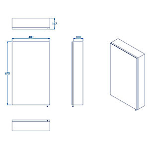 Croydex Folded Stainless Steel & MDF Carcass Single Door Bathroom Cabinet - 670 x 400mm
